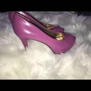Nine West - Purple/Pink open toe pumps EUC